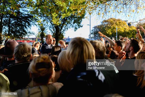 Prince William, Duke of Cambridge meets members of the public during a walkabout at Oi Manawa Canterbury Earthquake National Memorial on April 26,...