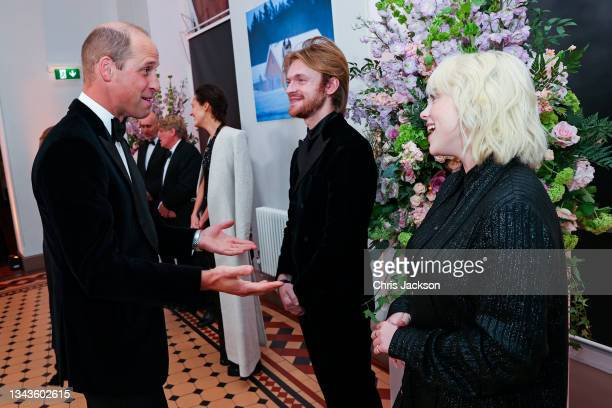 """Prince William, Duke of Cambridge meets """"No Time To Die"""" Performers Finneas and Billie Eilish at the """"No Time To Die"""" World Premiere at Royal Albert..."""
