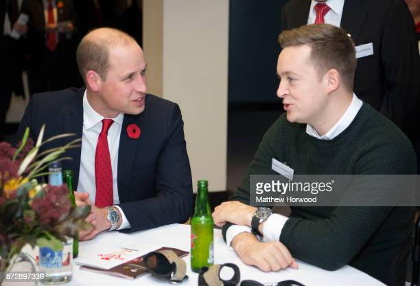 Prince William Duke of Cambridge meets Owen Williams a beneficiary of the Welsh Rugby Charitable Trust which supports players who have been injured...