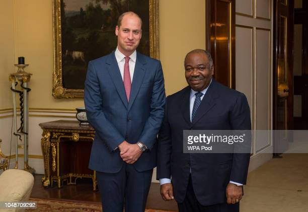 Prince William Duke of Cambridge meets President of Gabon Ali Bongo Ondimba for a bilateral meeting at Buckingham Palace on October 10 2018 in London...