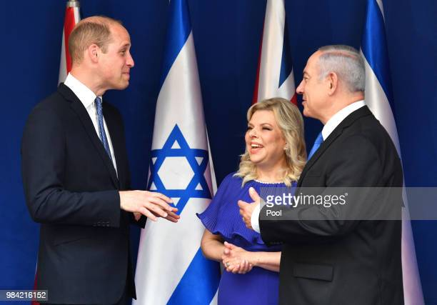 Prince William Duke of Cambridge meets Prime Minister Benjamin Netanyahu and wife Sara BenArtzi at Beit Aghion the official residence of the Prime...
