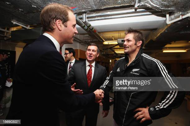 Prince William Duke of Cambridge meets Richie McCaw of the All Blacks following the international match between Wales and New Zealand at Millennium...