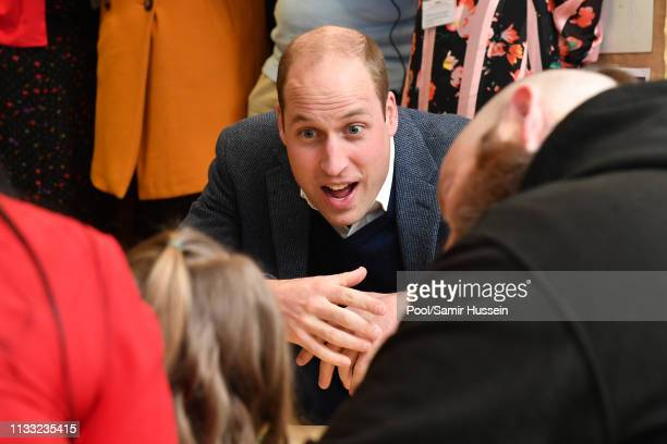 Prince William, Duke of Cambridge meets service users during a visit St Joseph's SureStart Facility on February 28, 2019 in Ballymena, Northern...