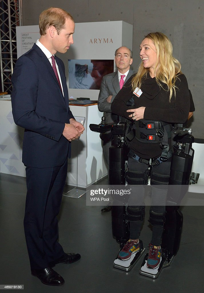 Prince William, Duke Of Cambridge meets Sophie Morgan who is a Paraplegic and is waling in a Rex Robot during the GREAT British Festival of Creativity on March 3, 2015 in Shanghai, China. Prince William, Duke of Cambridge is on a four day visit to China. He is the most senior royal to visit China since the Queen and Duke of Edinburgh in 1986. His visit follows on from a successful four day visit to Japan