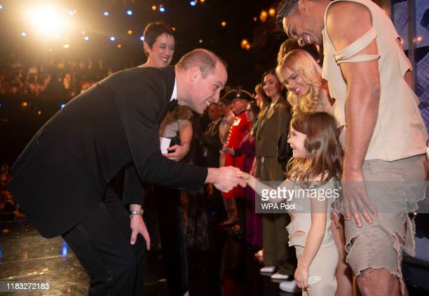 Prince William Duke of Cambridge meets the cast as they attend the Royal Variety Performance at Palladium Theatre on November 18 2019 in London...