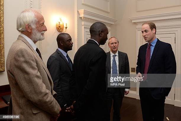Prince William Duke of Cambridge meets Tusk Conservation Awards winner Garth Owen Smith Cofounder of the Intergrated Rural Development and Nature...
