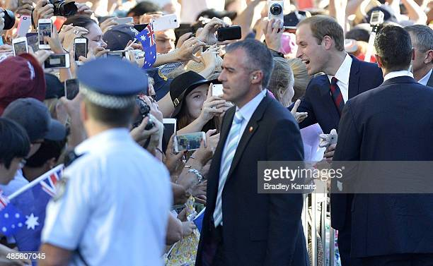 Prince William Duke of Cambridge meets well wishers at Southbank on April 19 2014 in Brisbane Australia The Duke and Duchess of Cambridge are on a...