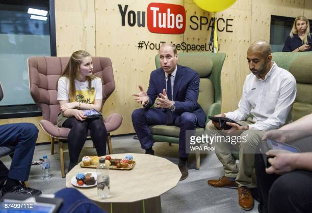 Prince William Duke of Cambridge meets with volunteers from National Society for the Prevention of Cruelty to Children during his visit to launch the...