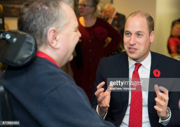 Prince William Duke of Cambridge meets Wyn Francis a beneficiary of the Welsh Rugby Charitable Trust which supports players who have been injured...