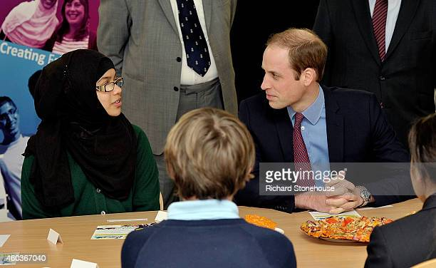 Prince William Duke Of Cambridge meets young people involved with 'Feast' a group that fosters interfaith dialogue between young people during an...