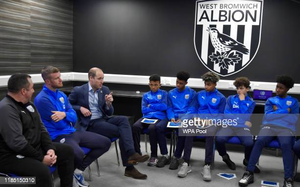 Prince William Duke of Cambridge meets young players from of West Bromwich Albion FC's Academy as part of the Heads Up campaign at West Bromwich...