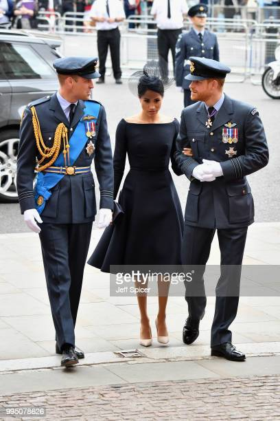 Prince William Duke of Cambridge Meghan Duchess of Sussex and Prince Harry Duke of Sussex attend as members of the Royal Family attend events to mark...