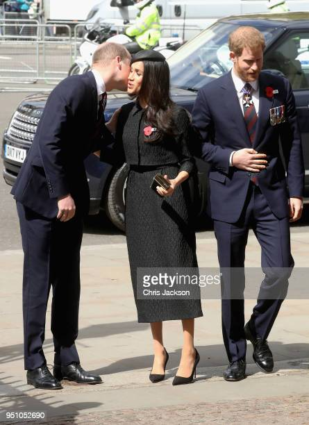 Prince William Duke of Cambridge Meghan Markle and Prince Harry attend an Anzac Day Service of Commemoration and Thanksgiving at Westminster Abbey on...