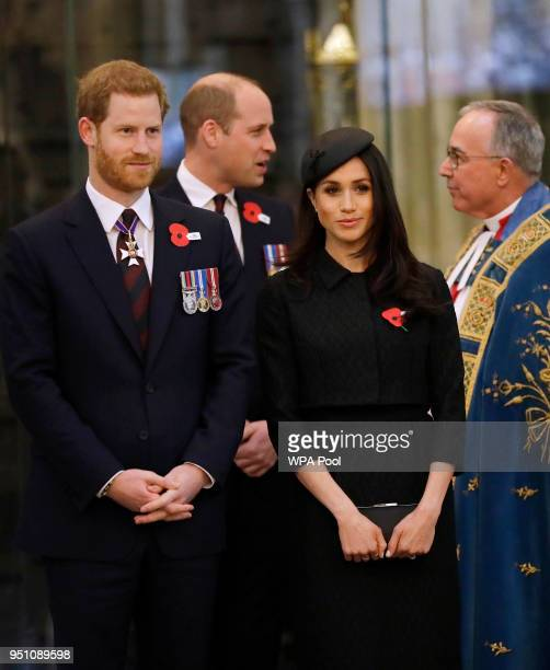 Prince William Duke of Cambridge Meghan Markle and Prince Harry attend an Anzac Day service at Westminster Abbey on April 25 2018 in London England