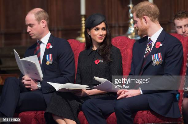Prince William, Duke of Cambridge, Meghan Markle and Prince Harry attend an Anzac Day service at Westminster Abbey on April 25, 2018 in London,...