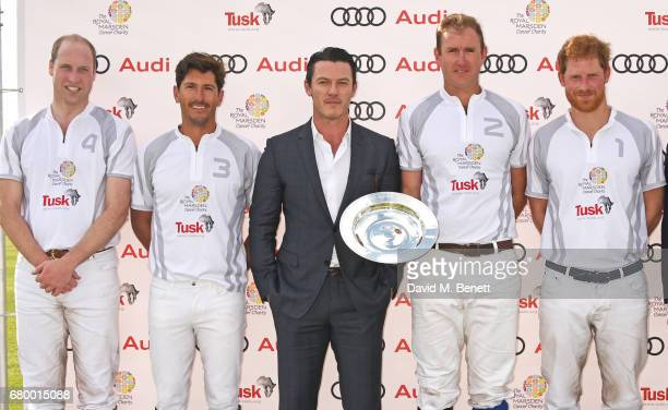 Prince William Duke of Cambridge Nic Roldan actor Luke Evans Tom Morley and Prince Harry attend the Audi Polo Challenge at Coworth Park on May 7 2017...