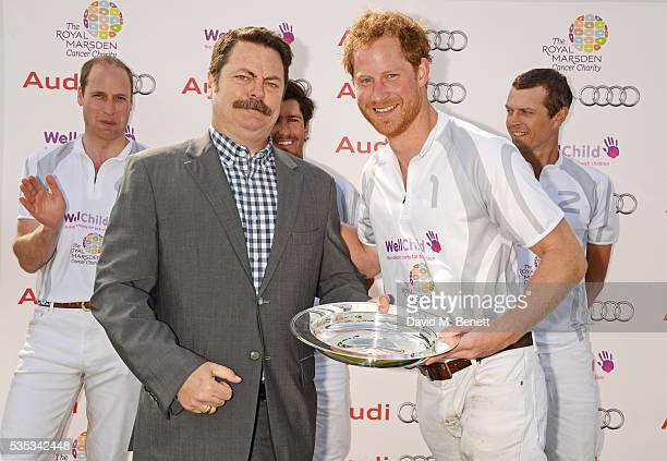 Prince William Duke of Cambridge Nick Offerman Nic Roldan Prince Harry and James Harper attend day two of the Audi Polo Challenge at Coworth Park on...