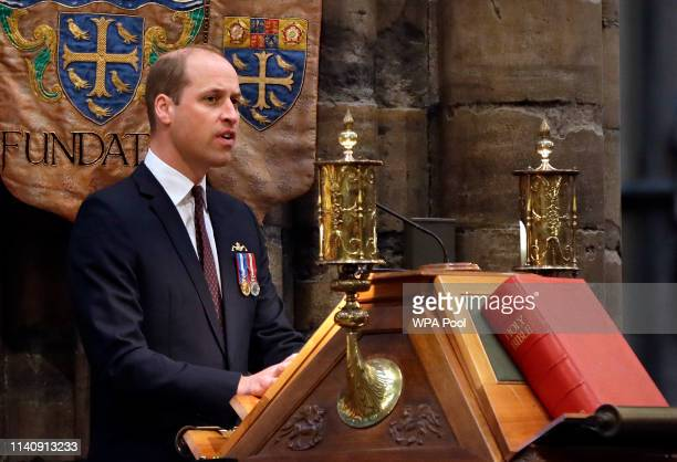 Prince William, Duke of Cambridge performs a reading during a service to recognize fifty years of continuous deterrent at sea in his capacity as...