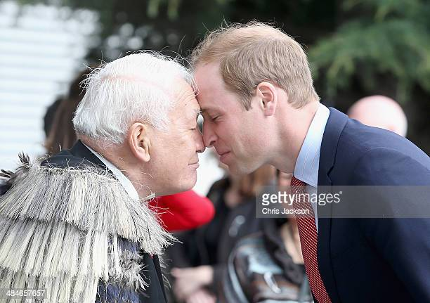 Prince William Duke of Cambridge performs the traditional Maori greeting of the 'Hongi' as he visits Christchurch City Council Buildings on April 14...