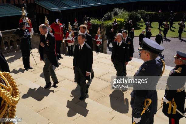 Prince William, Duke of Cambridge, Peter Phillips, Prince Harry, Duke of Sussex, Earl of Snowdon David Armstrong-Jones and and Vice-Admiral Sir...