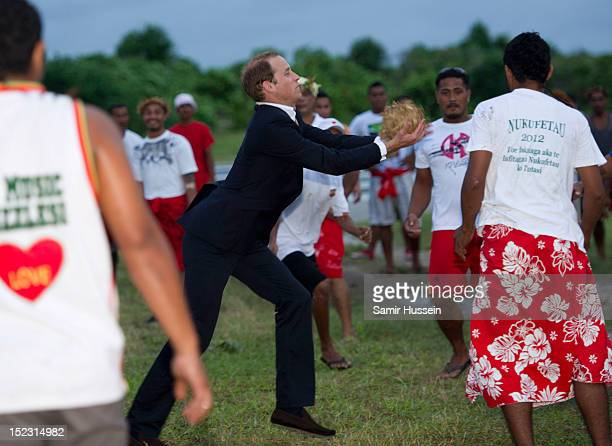 Prince William Duke of Cambridge plays a game of calle te ano during the Royal couple's Diamond Jubilee tour of the Far East on September 18 2012 in...