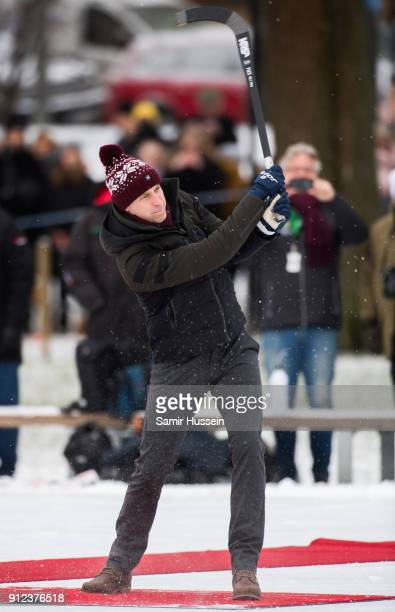 Prince William Duke of Cambridge plays Bandy hockey during day one of their Royal visit to Sweden and Norway on January 30 2018 in Stockholm Sweden