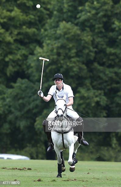 Prince William Duke of Cambridge plays for team Piaget as he competes in the Gigaset Charity Polo Match at Beaufort Polo Club on June 14 2015 in...