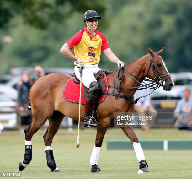 Prince William Duke of Cambridge plays in the Jerudong Park Trophy charity polo match at Cirencester Park Polo Club on July 15 2017 in Cirencester...