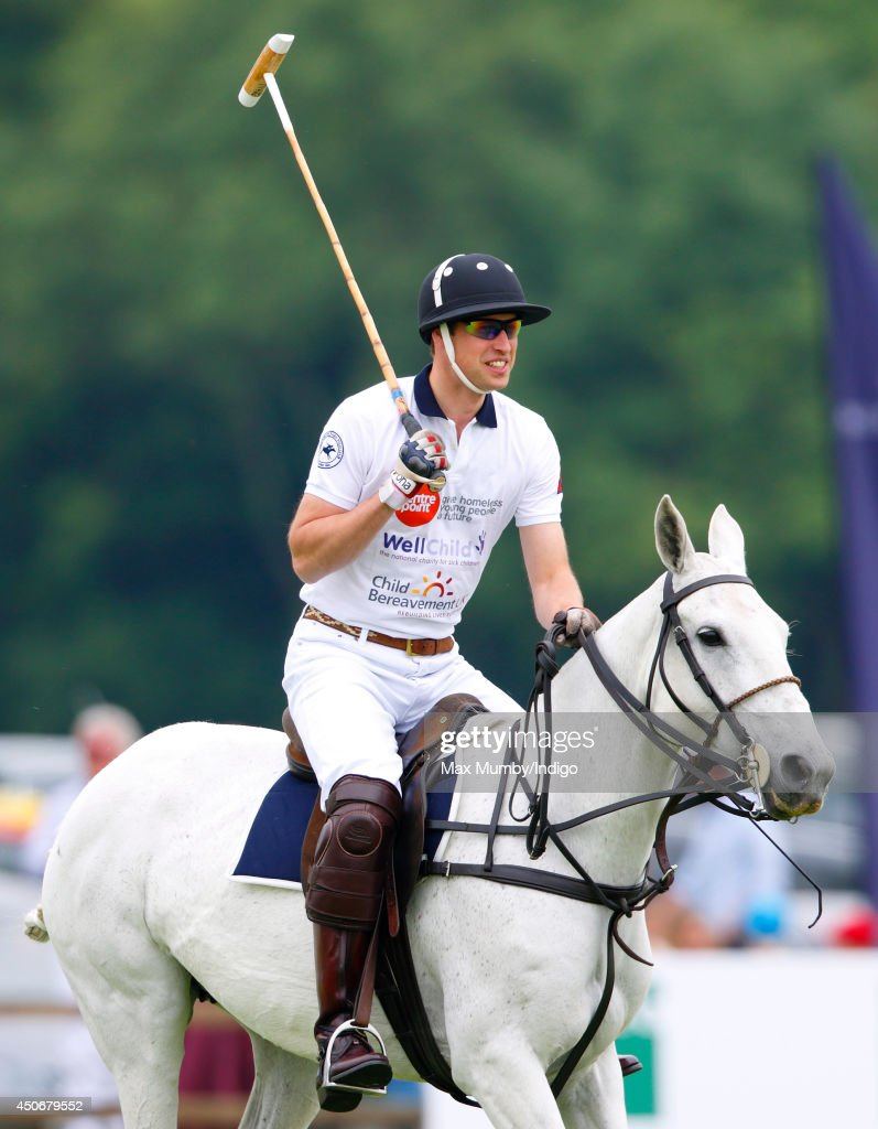 Prince William, Duke of Cambridge plays in the Jerudong Trophy charity polo match at Cirencester Park Polo Club on June 15, 2014 in Cirencester, England.