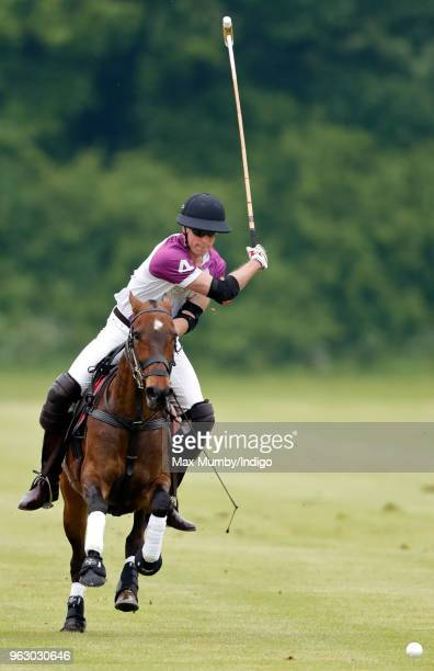 Prince William Duke of Cambridge plays in the Jerudong Trophy charity polo match at Cirencester Park Polo Club on May 25 2018 in Cirencester England