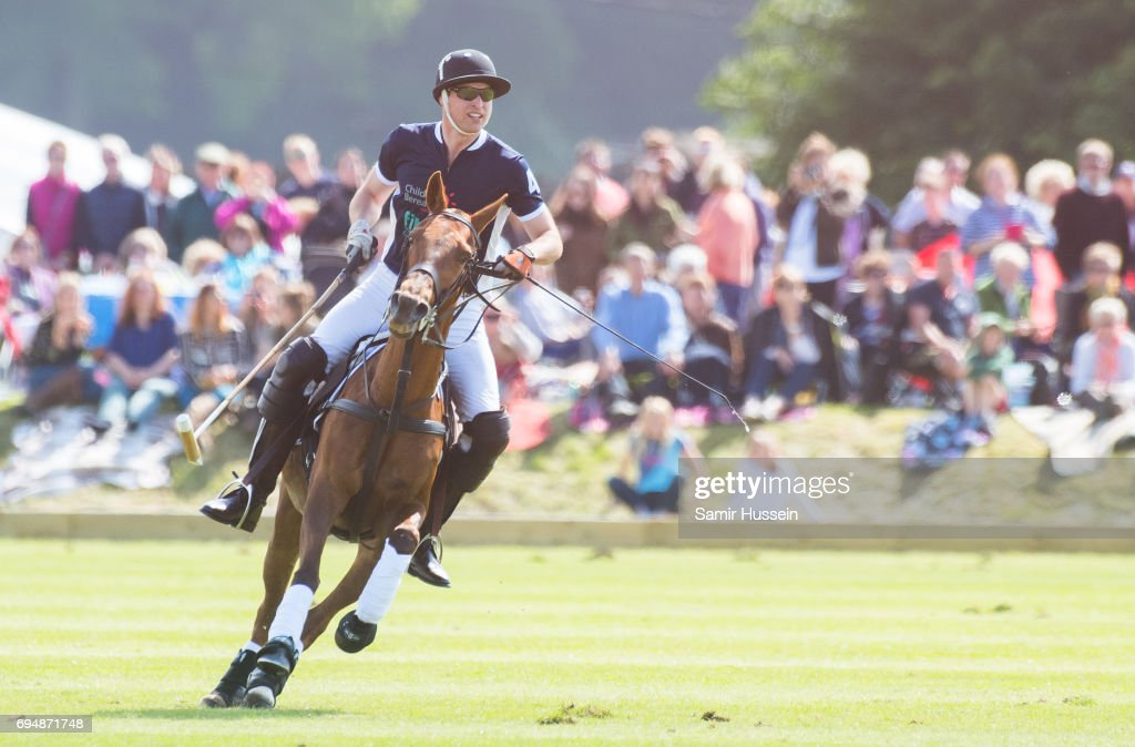Prince William, Duke of Cambridge plays in the Maserati Royal Charity Polo Trophy at Beaufort Polo Club on June 11, 2017 in Tetbury, England.