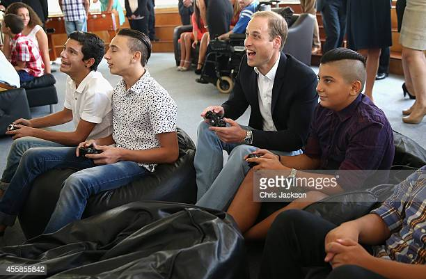 Prince William Duke of Cambridge plays Sony Wii with young people as he visits an Access Centre for young people called Agenzija Appogg during an...