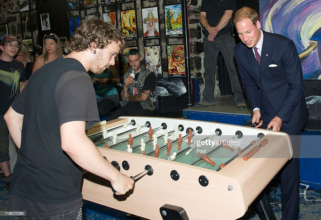 Prince William, Duke of Cambridge plays table football during a visit to a drop in centre for homeless and young people on July 3, 2011 in Quebec, Canada. The newly married Royal Couple are on the fourth day of their first joint overseas tour. The 12 day visit to North America will take in some of the more remote areas of the country such as Prince Edward Island, Yellowknife and Calgary. The Royal couple started off their tour by joining millions of Canadians in taking part in Canada Day celebrations which mark Canada's 144th Birthday.