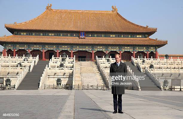 Prince William Duke of Cambridge poses for a photograph during a visit to the Forbidden City on March 2 2015 in Beijing China The Duke of Cambridge...