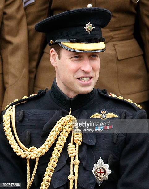 Prince William Duke of Cambridge poses for a regimental photograph as he visits Keogh Barracks to present British Army Medics of 22 Field Hospital...