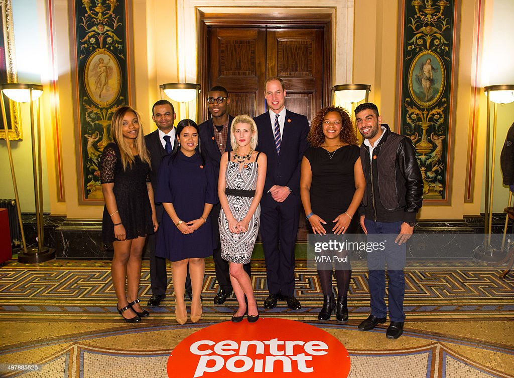 Prince William, Duke of Cambridge poses with Centrepoint Award winners (from left to right) Monique Newton, Othman Ali, Sophia Kichou, Alex Bonnick, Rebecca Stephenson, Sade Brown and Ezat Gulzaman at the launch of the Centrepoint Awards at the HSBC private bank on November 19, 2015 in London, England. The event is the first awards ceremony for the youth homeless charity, celebrating the achievements of young people who have changed the direction of their lives after experiencing homelessness.