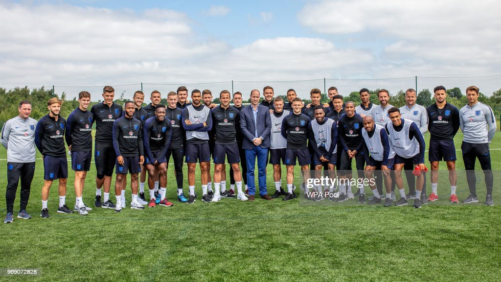 The Duke Of Cambridge Meets The England Football Squad Ahead Of The 2018 Fifa World Cup : News Photo