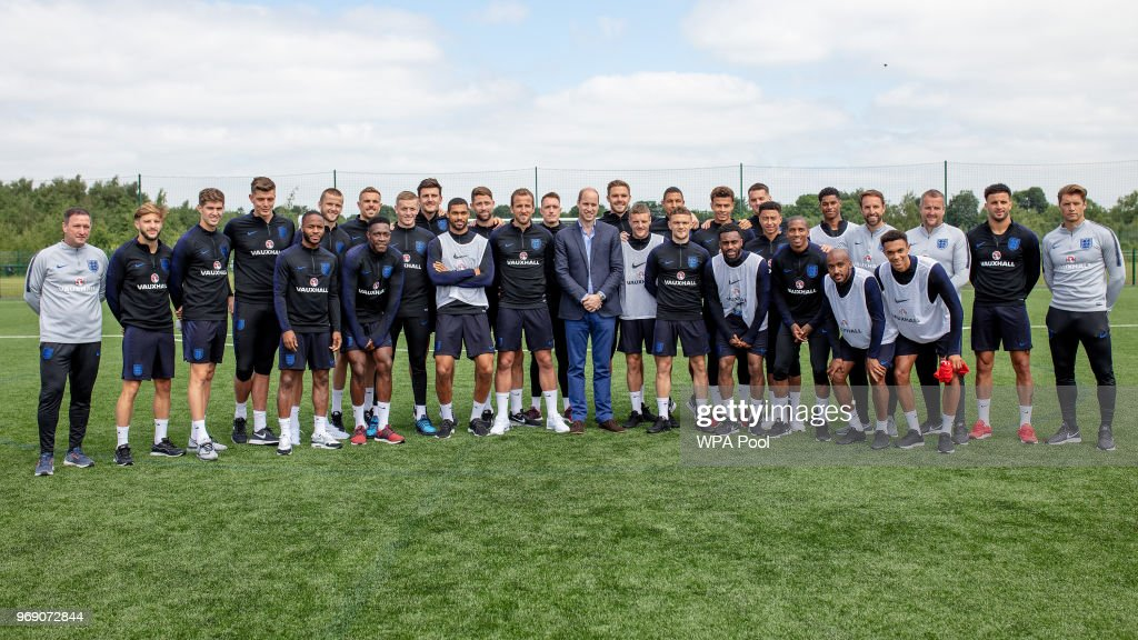 Prince William, Duke of Cambridge poses with the England players including Captain Harry Kane (C) as he attends the Facility at the FA Training Ground to meet the England Squad before their match at Elland Road this Evening on June 7, 2018 in Leeds, England.