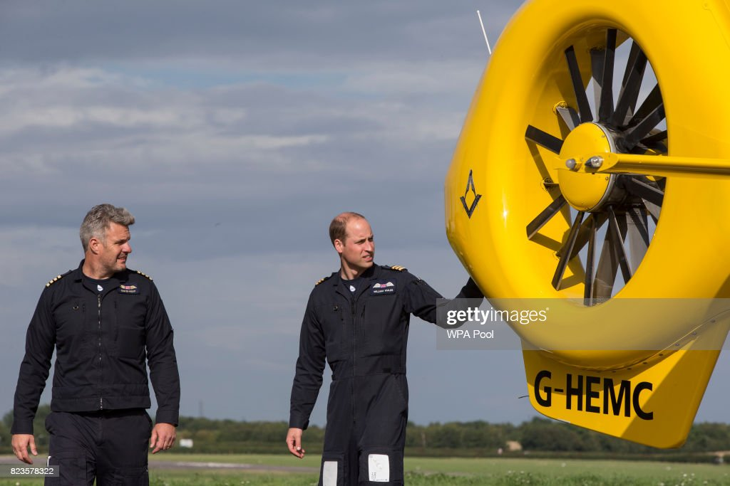 Prince William, Duke of Cambridge prepares for his final shift with Cpt Dave Kelly of the East Anglian Air Ambulance based out of Marshall Airport on July 27, 2017 near Cambridge, England.