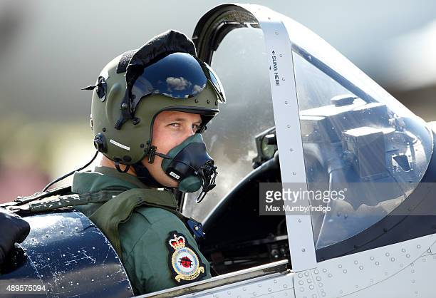 Prince William Duke of Cambridge prepares to take off in a Chipmunk aircraft during a visit to RAF Coningsby to observe the 100th Anniversary Parade...