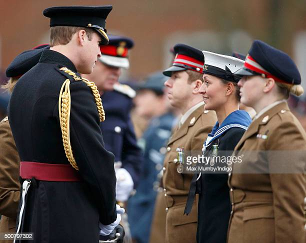 Prince William Duke of Cambridge presents British Army Medics of 22 Field Hospital with the Government Ebola Medal for service in West Africa during...