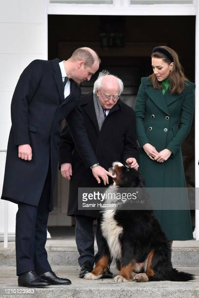 Prince William, Duke of Cambridge, President of Ireland Michael D. Higgins and Catherine, Duchess of Cambridge are seen petting a dog during a...