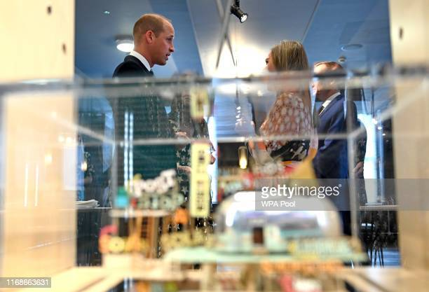 Prince William Duke of Cambridge President of the British Academy of Film and Television Arts tours a new exhibition at the charity's temporary...