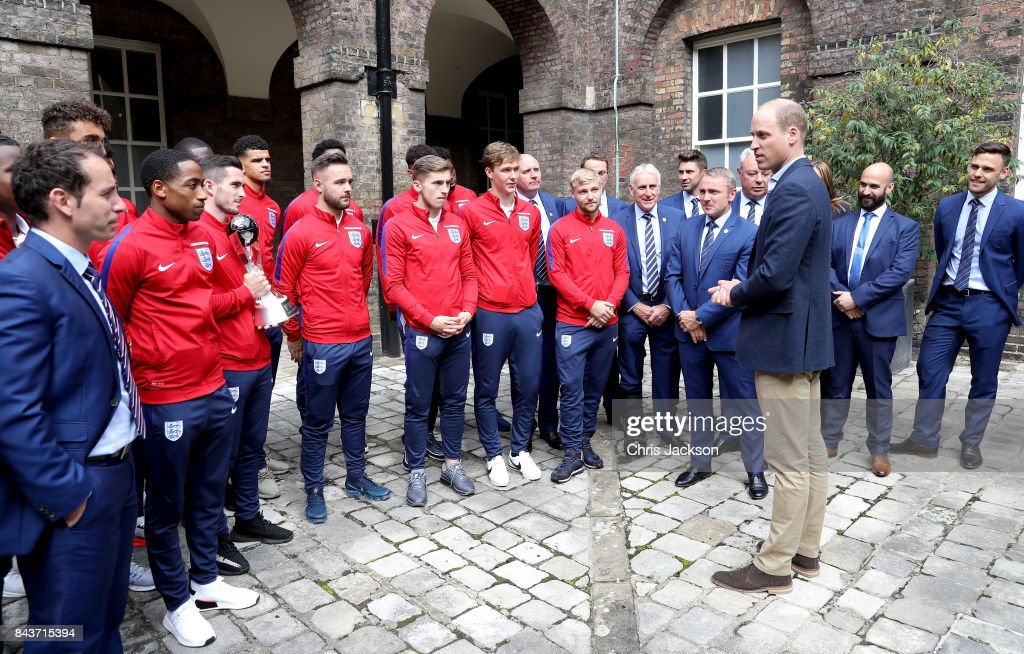 Prince William, Duke of Cambridge (third right), President of the Football Association, hosts a reception for the Under-20 England Football Team at Kensington Palace on September 7, 2017 in London, England. The England Under-20 side became the first England team to win a football World Cup since 1996 when they beat Venezuela 1-0 on June 11th, 2017.