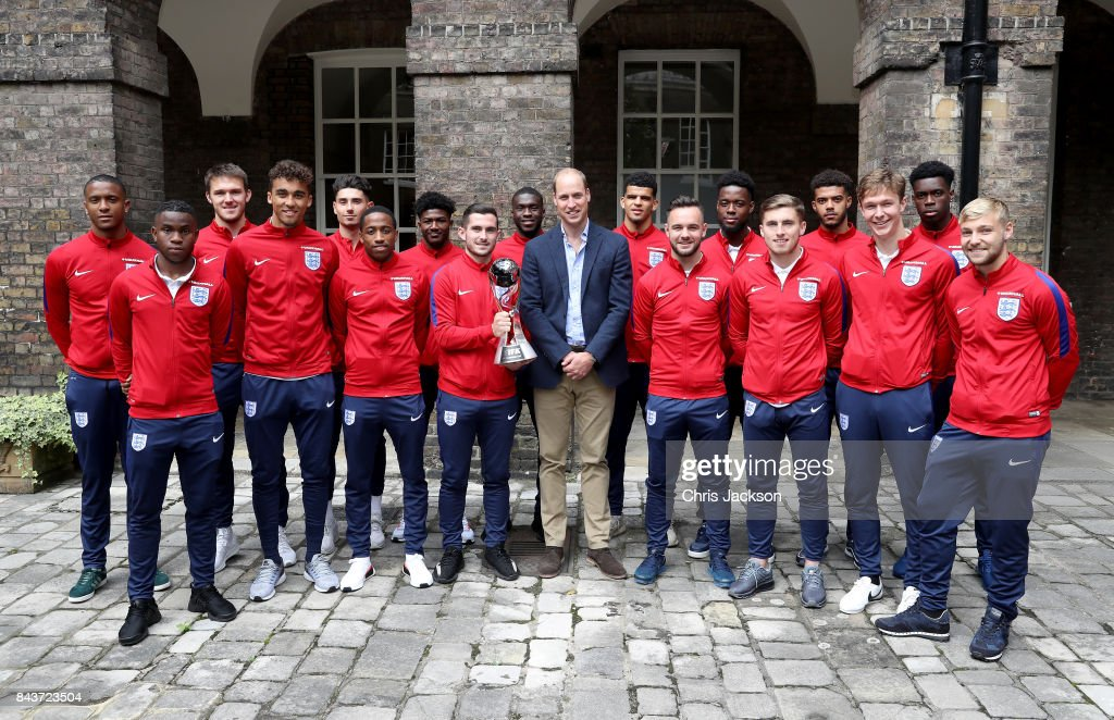 Prince William, Duke of Cambridge, President of the Football Association(C) poses with (L-R) Ezri Konsa, Ademola Lookman, Freddie Woodman, Dominic Calvert-Lewin, Luke Southwood, Kyle Walker-Peters, Ainsley Maitland-Niles, Lewis Cook, Fikayo Tomori, Dominic Solanke, Adam Armstrong, Josh Onomah, Jonjoe Kenny, Jake Clarke-Salter, Kieran Dowell, Ovie Ejaria and Harry Chapman during a reception for the Under-20 England Football Team at Kensington Palace on September 7, 2017 in London, England. The England Under-20 side became the first England team to win a football World Cup since 1996 when they beat Venezuela 1-0 on June 11th, 2017.