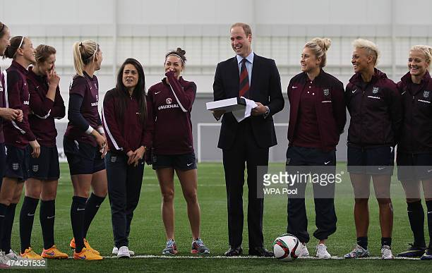 Prince William, Duke of Cambridge, President of the Football Association, visits the England Women Senior Team at The National Football Centre at St....