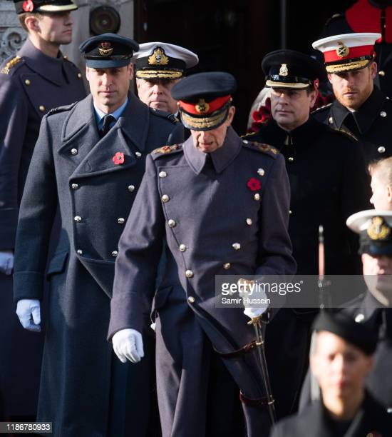 Prince William Duke of Cambridge Prince Andrew Duke of York Prince Edward Earl of Wessex and Prince Harry Duke of Sussex attends the annual...