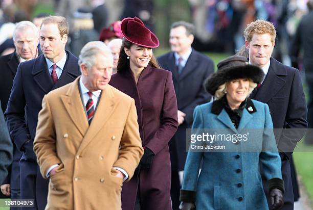 Prince William Duke of Cambridge Prince Charles Prince of Wales Catherine Duchess of Cambridge Camilla Duchess of Conrwall and Prince Harry walk to...