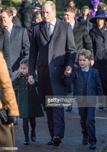 Prince William Duke of Cambridge Prince George of Cambridge and Princess Charlotte of Cambridge attend the Christmas Day Church service at Church of...