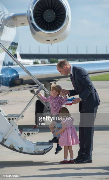Prince William Duke of Cambridge Prince George of Cambridge and Princess Charlotte of Cambridge depart from Hamburg airport on the last day of their...